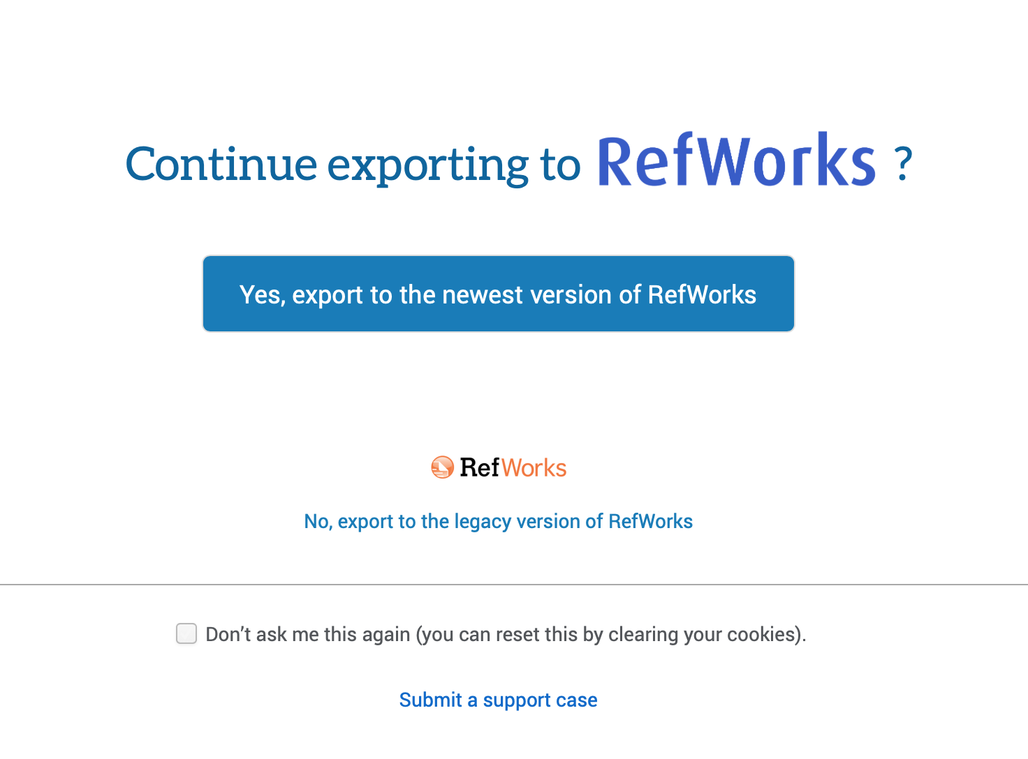 exporting to RefWorks screen