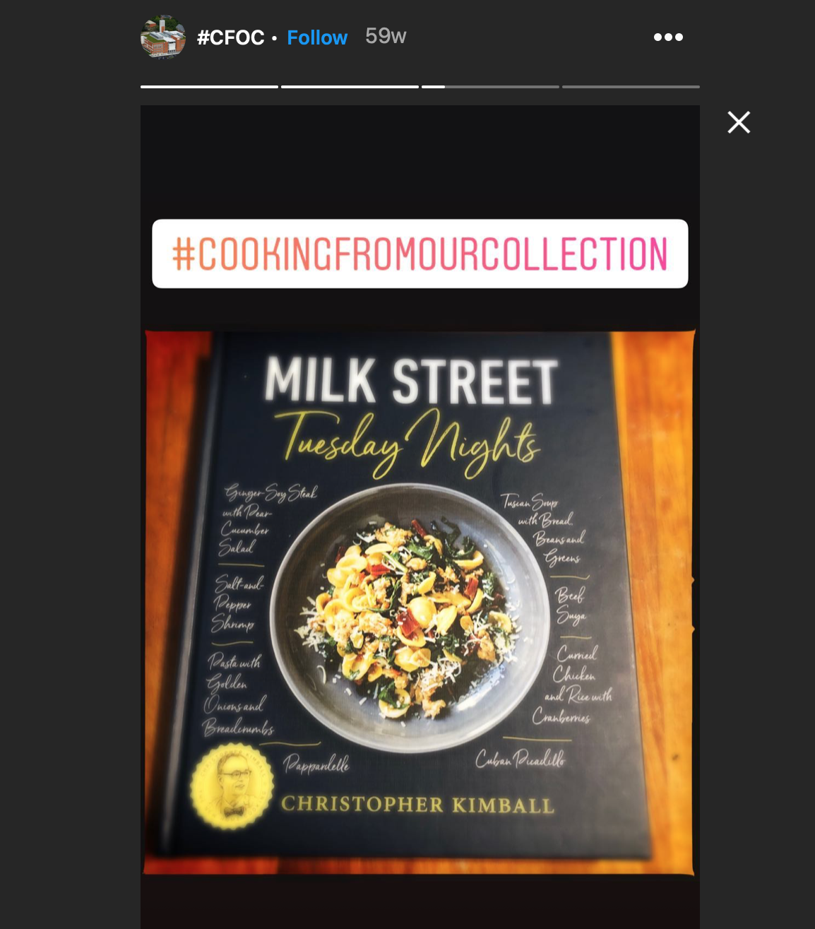 image of a cookbook photo highlighted in an instagram story