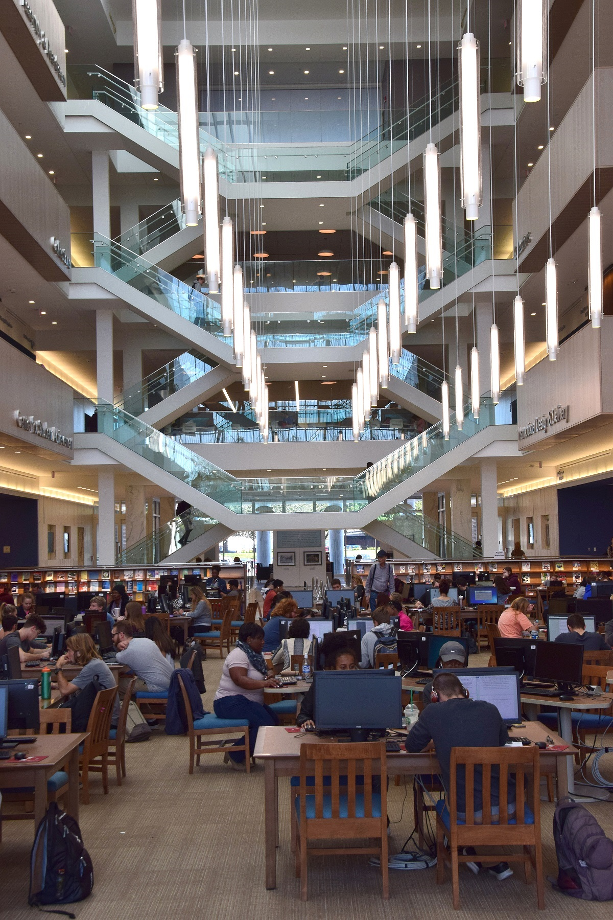 Photo of Academic Commons atrium showing students