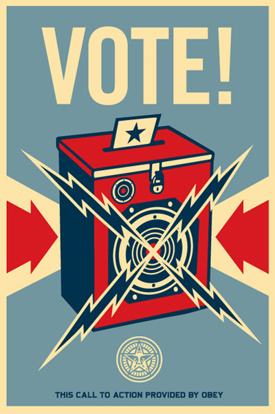 Vote! above a red ballot box, locked. A card with a star on it is sticking out of the top hole. Lightning bolts are coming out of the middle.
