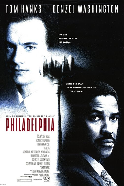 Philadelphia movie poster, Tom Hanks Denzel Washington at the top. Both of their faces on the cover. The title of the film in between