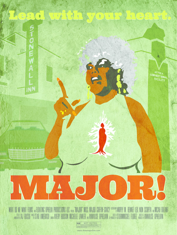 Cover of film, green background with a drawing of an African American woman with a grey Afro speaking, long red lacquered finger raised to make a point with the title of the movie below it
