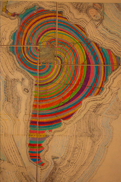 "Photo of Juan Downey's drawing ""America is Back Together"" - South America in rainbow swirls instead of political divides"
