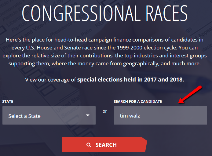 the landing page when opening the link. Use the search box on the right to search directly for your candidate.