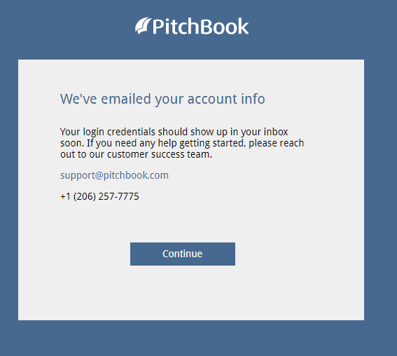 Pitchbook confirmation window