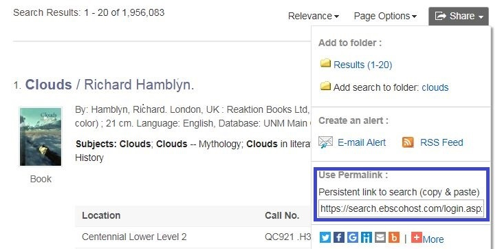 Image of catalog search results with Share tool exposed and permalink highlighted