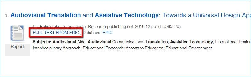 """Article in EDS highlighting the """"Full Text From ERIC"""" link embedded in the article citation"""