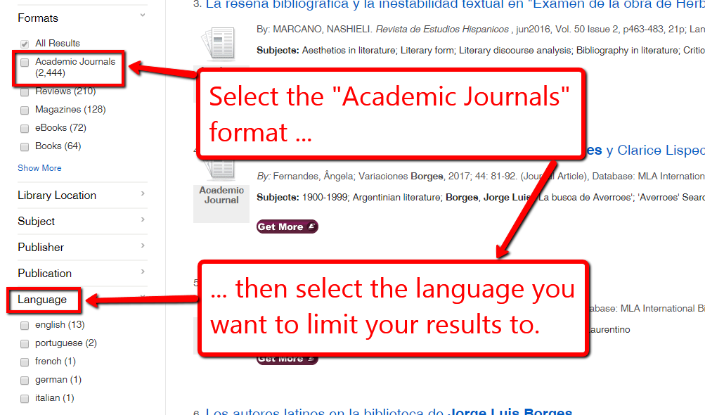 """""""Academic Journals"""" format and language facet in EKU Libraries search results screen."""