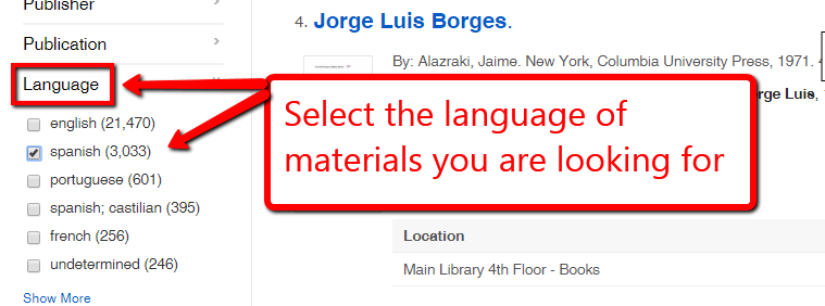Language facet on EKU Libraries search results screen