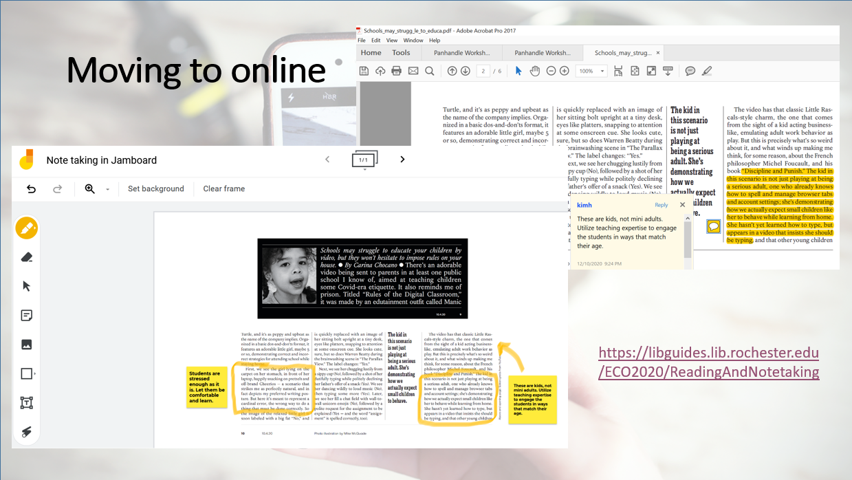 PPT slide with screenshots of tools used in the notetaking lesson, online version