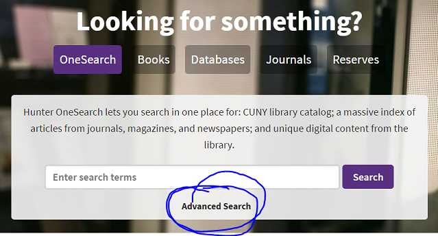 Screen shot of Library home with Advanced Search link circled just past search box