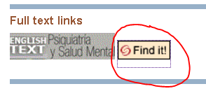 "Pubmed result screen shot, under ""full text links,"" ""Find it!"" button circled"