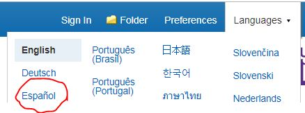 screen shot of Ebsco database, Languages menu open, Espanol circled
