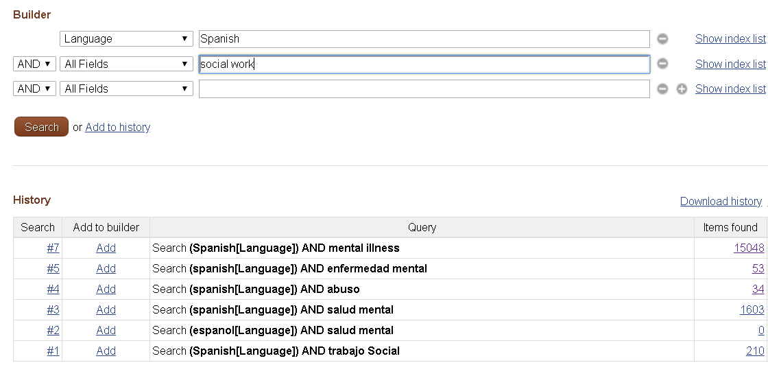 Pubmed Advanced search screen shot.  Combo box with Language selected and spanish typed in search.  Next search box has social work entered.  Search history demonstrates more results for searches in English