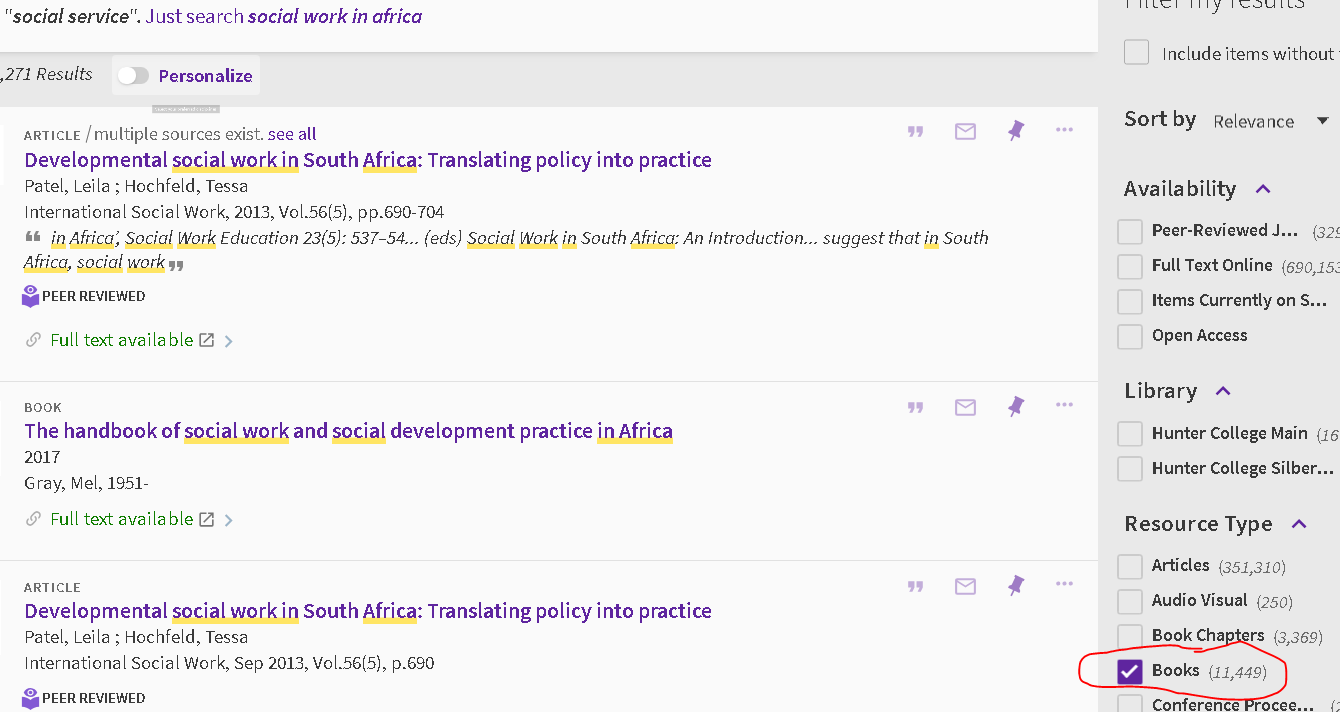 image of results for a search for phrase social work in Africa.  Books checkbox checked under Resource Type heading.