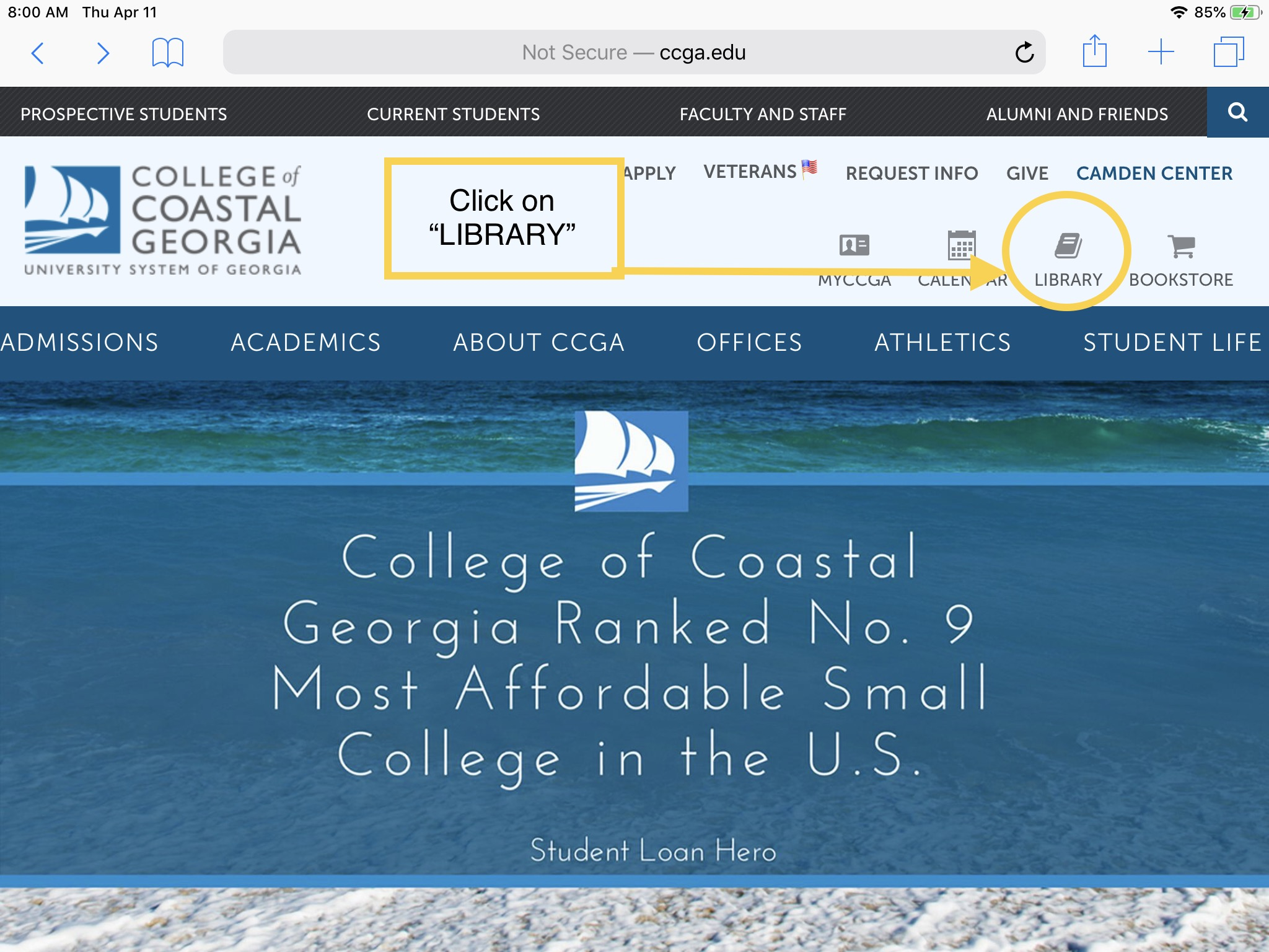 1. From the college homepage (www.ccga.edu), click on