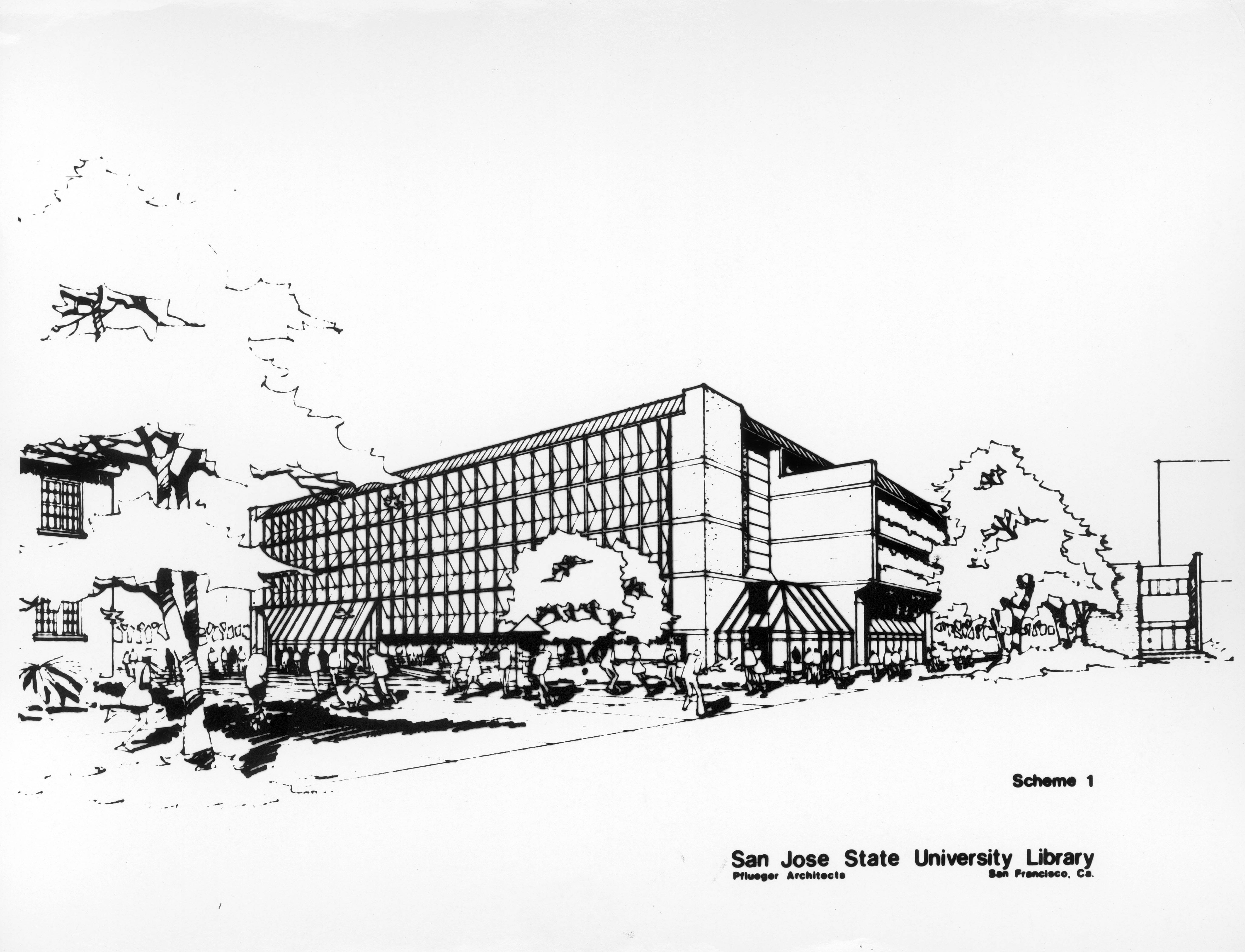 Architectural drawing of the Clark Library