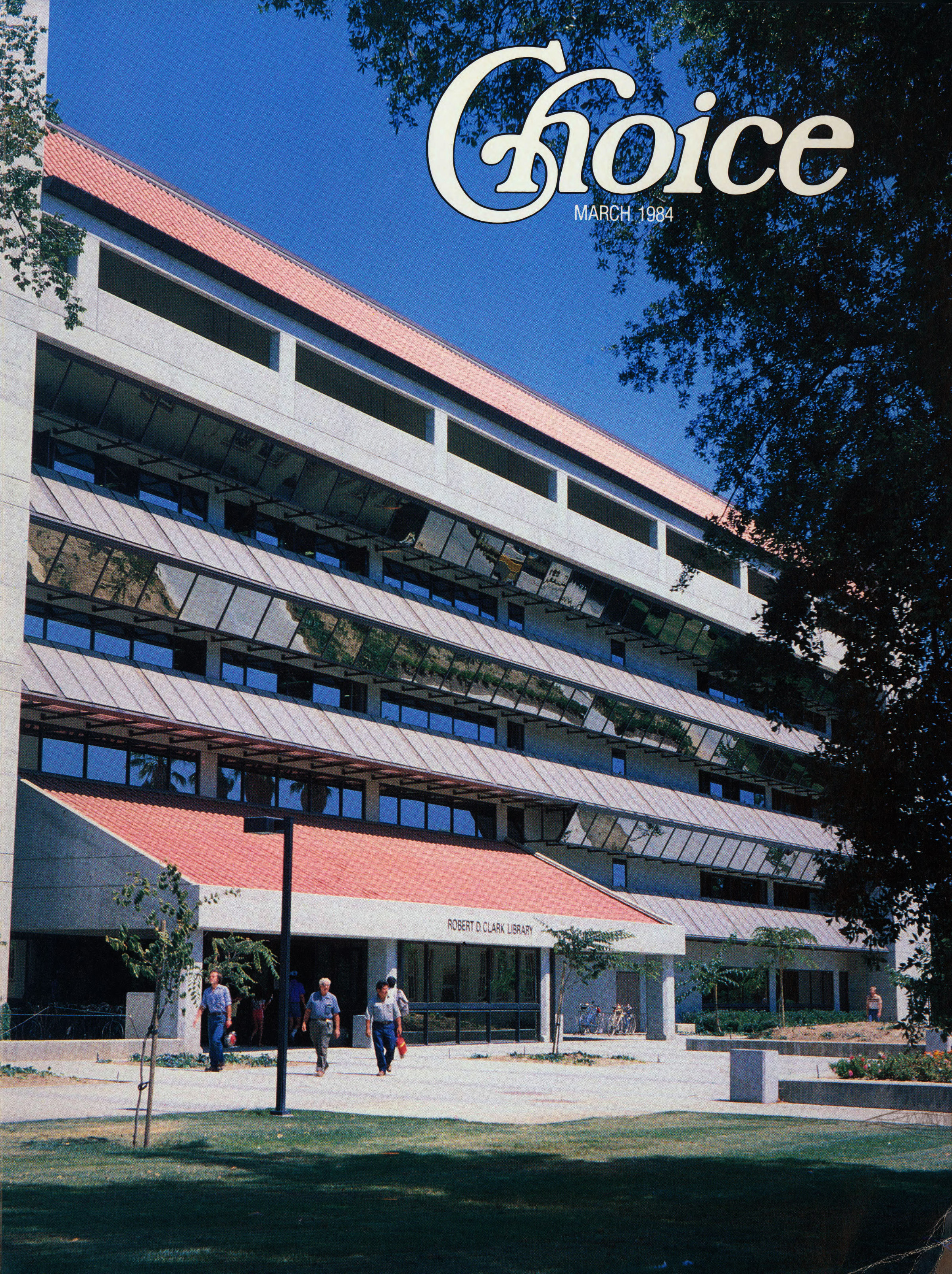 Robert D. Clark Library on the cover of the March 1984 issue of Choice