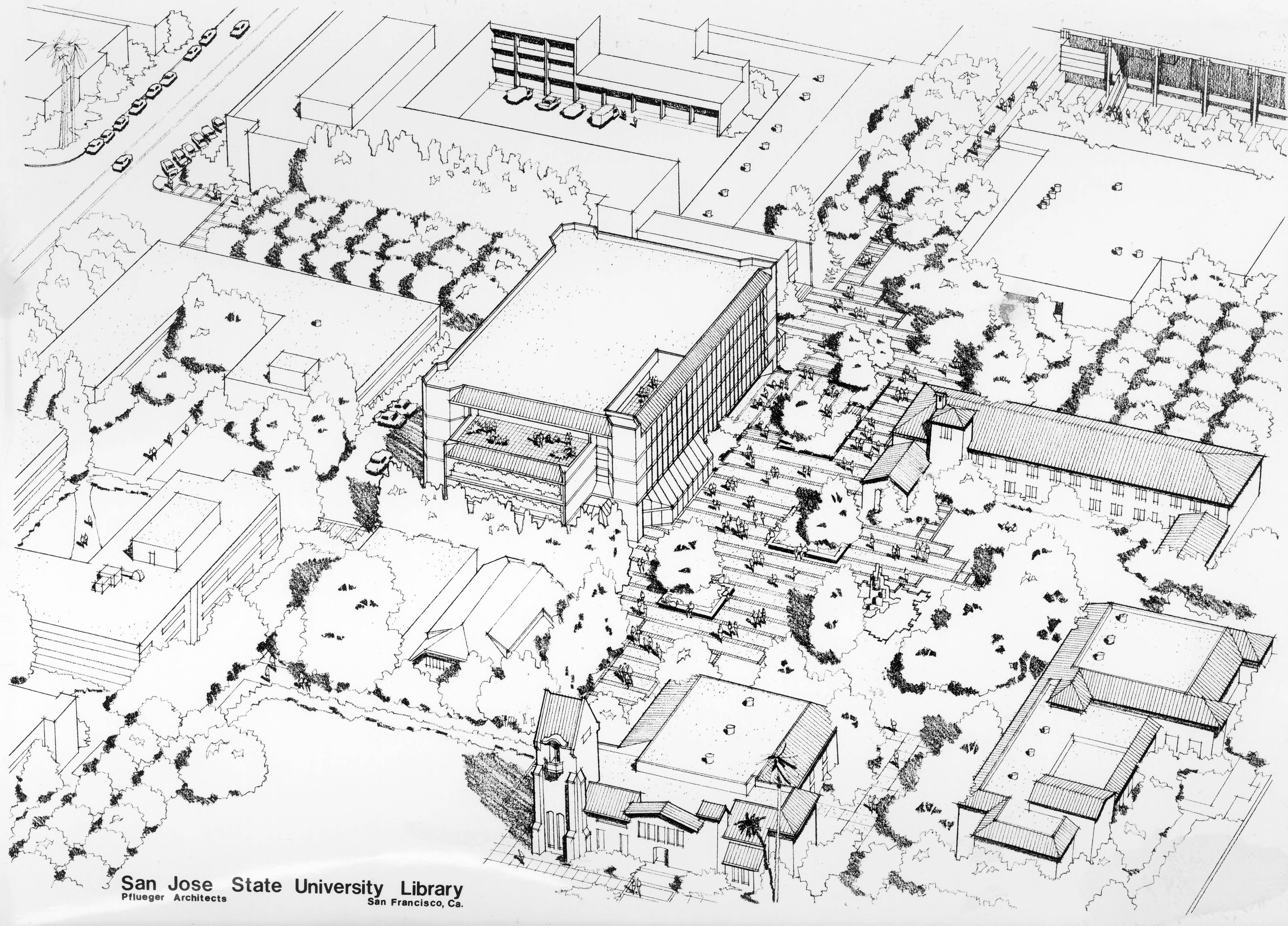 Architectural drawing of Clark Library, 1976