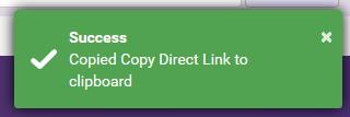 Successful link copy box