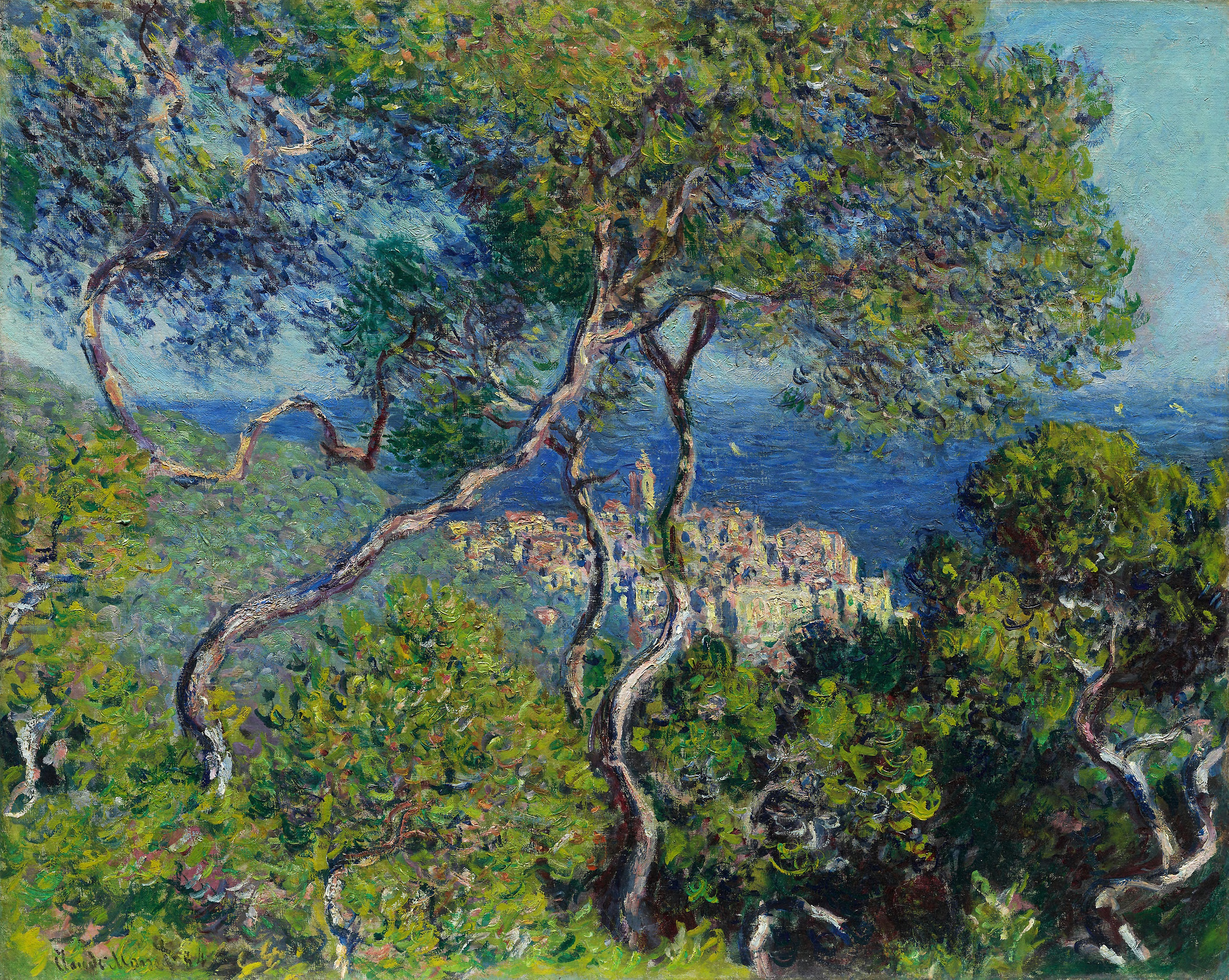 Painting of trees, landscape by Claude Monet