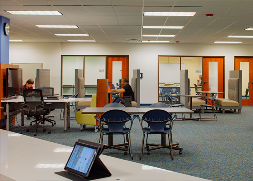 Booths at Gould library