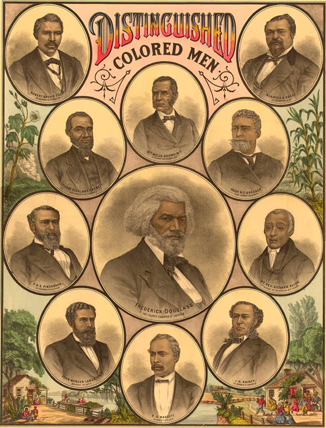 Montage of several prominent black men from 1883