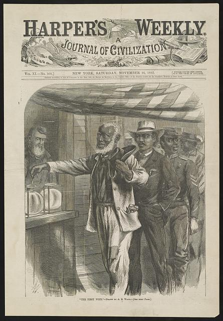 Illustration of a black man casting his first vote