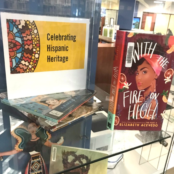 Photo of book display for Hispanic Heritage Month