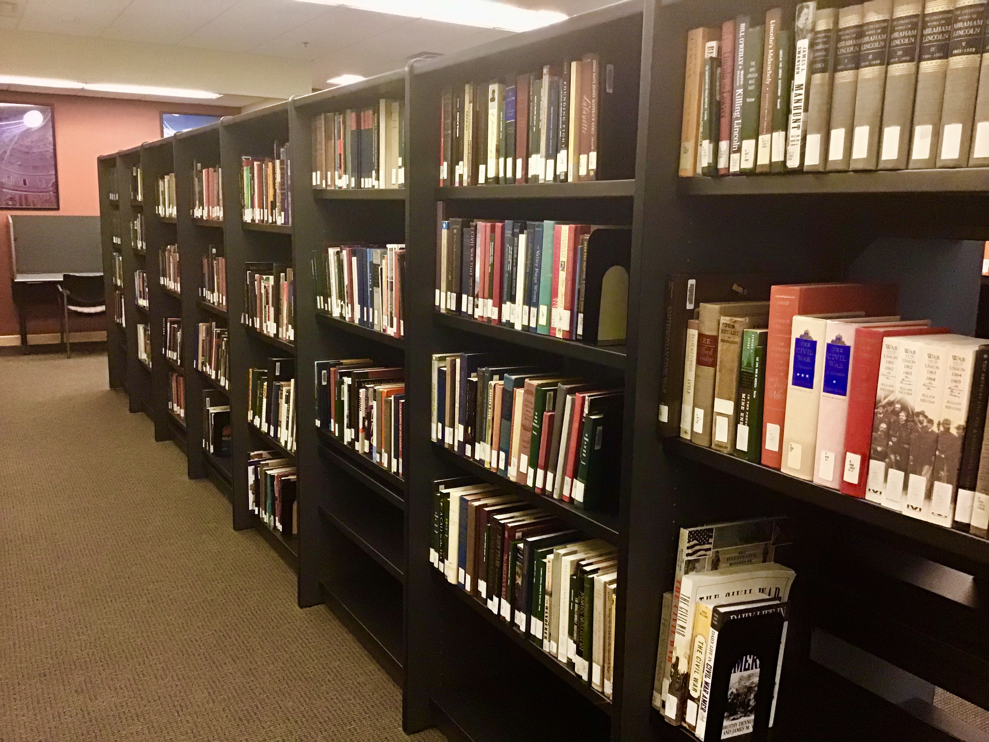 Book shelves at Camden Library
