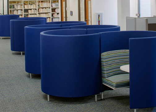 Study pods at Gould library