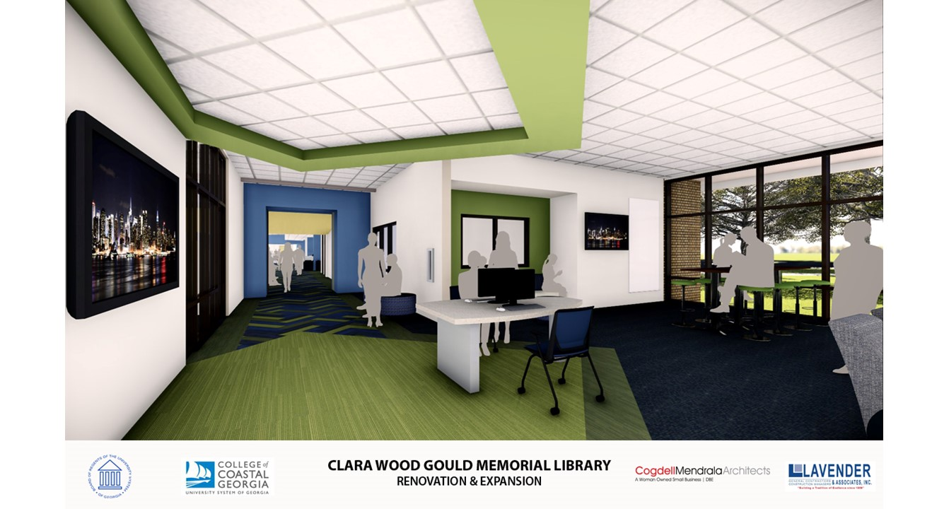 Interior of new addition to Gould Library