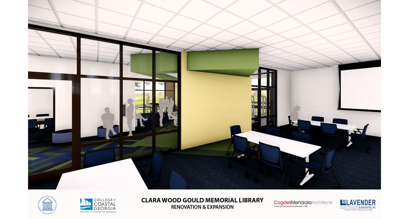 Another view of interior of new addition to Gould Library