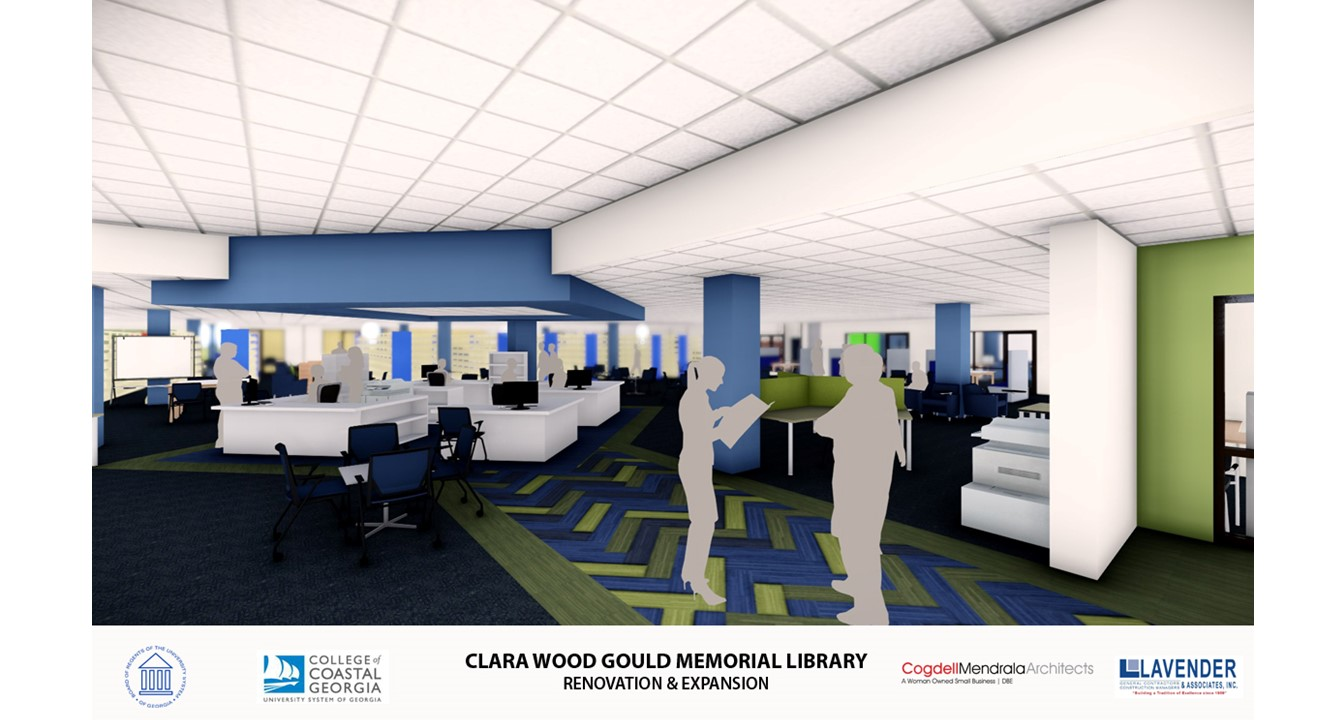 View of new circulation desk in Gould Library