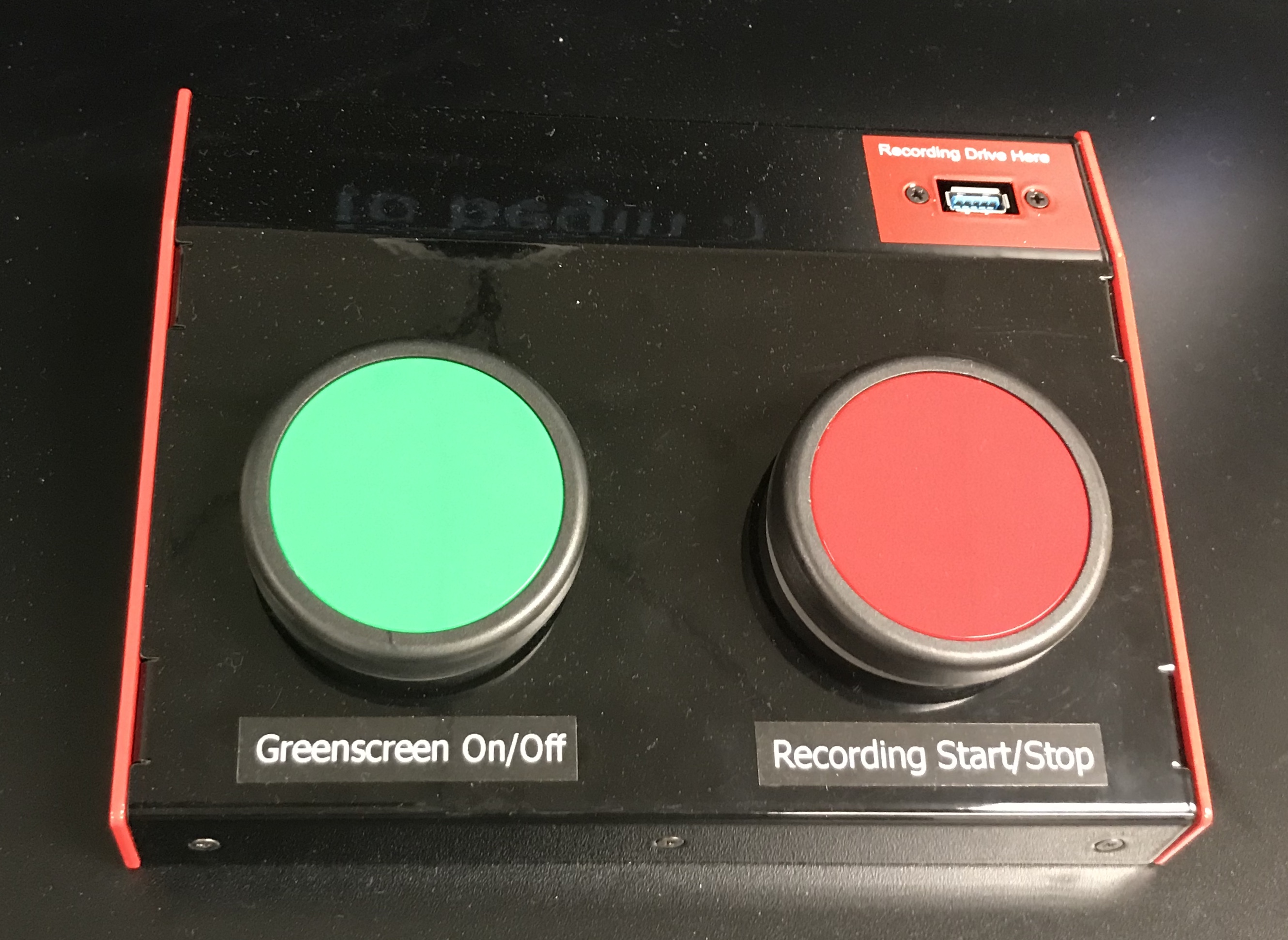 Photo of studio start and stop button