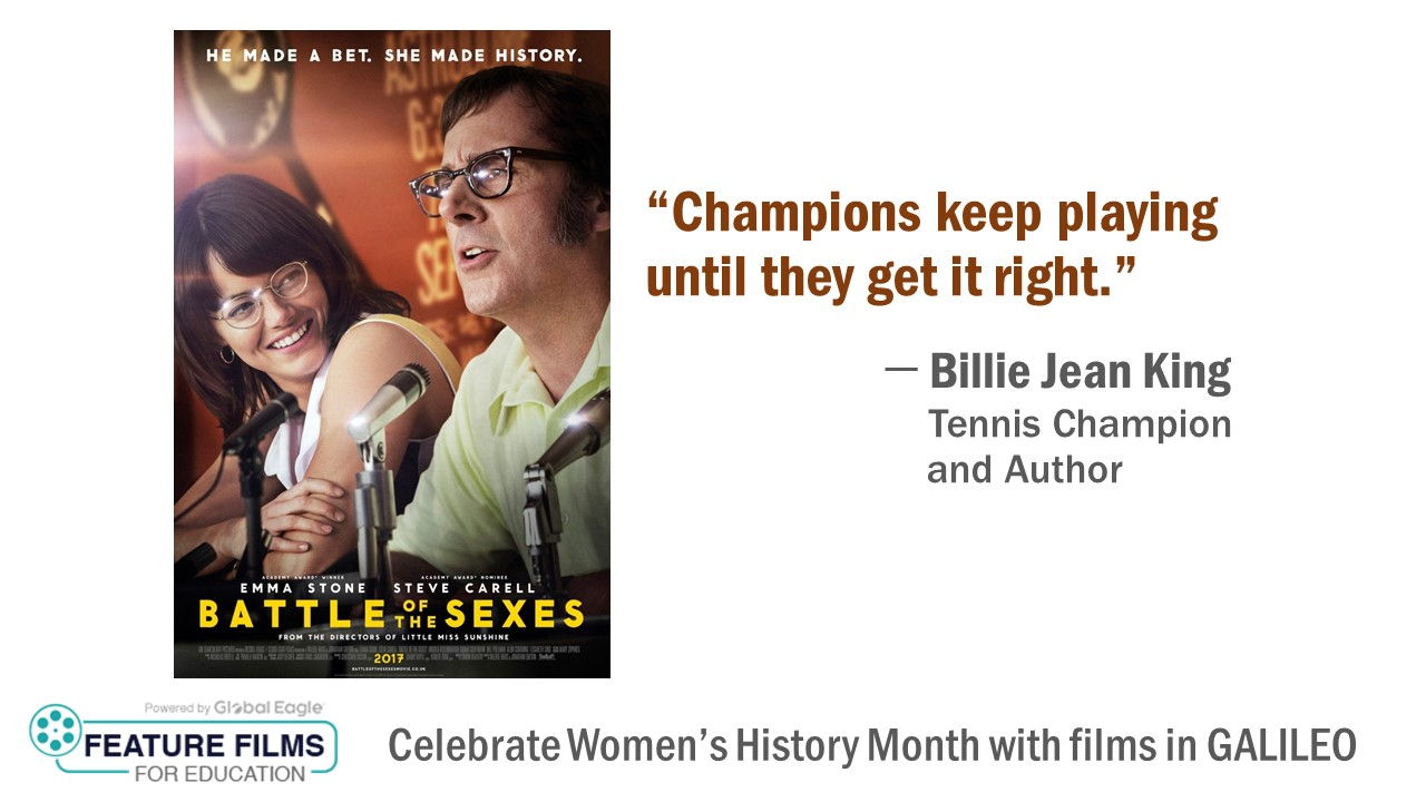 Video cover art for Battle of the Sexes promoting Features Films in Education in GALILEO