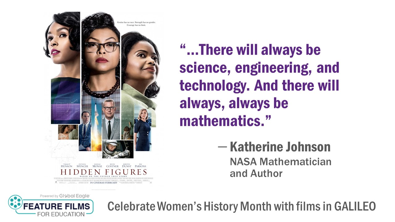 Video cover art for Hidden Figures promoting Features Films in Education in GALILEO