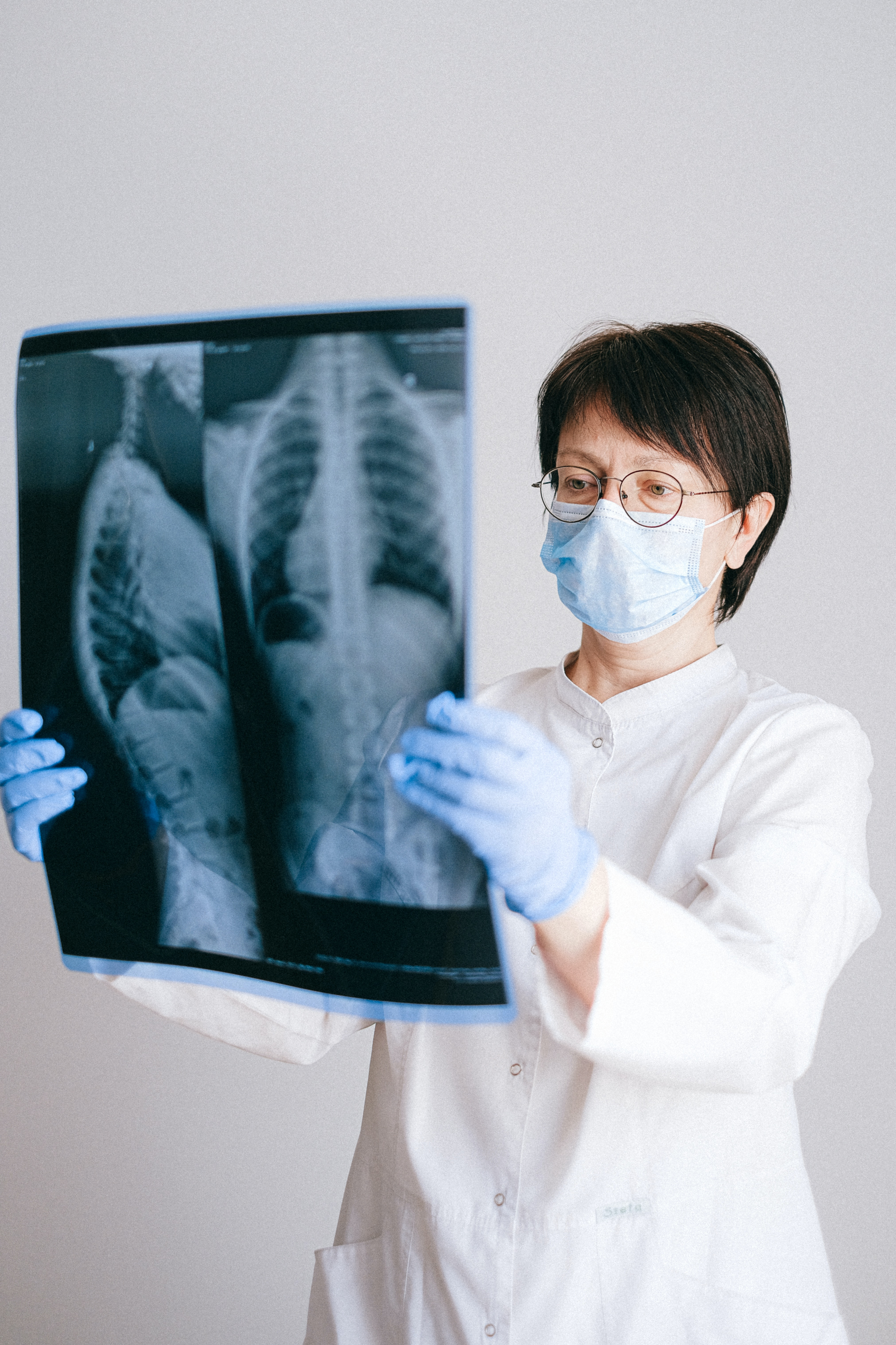 Stock image of woman viewing xray