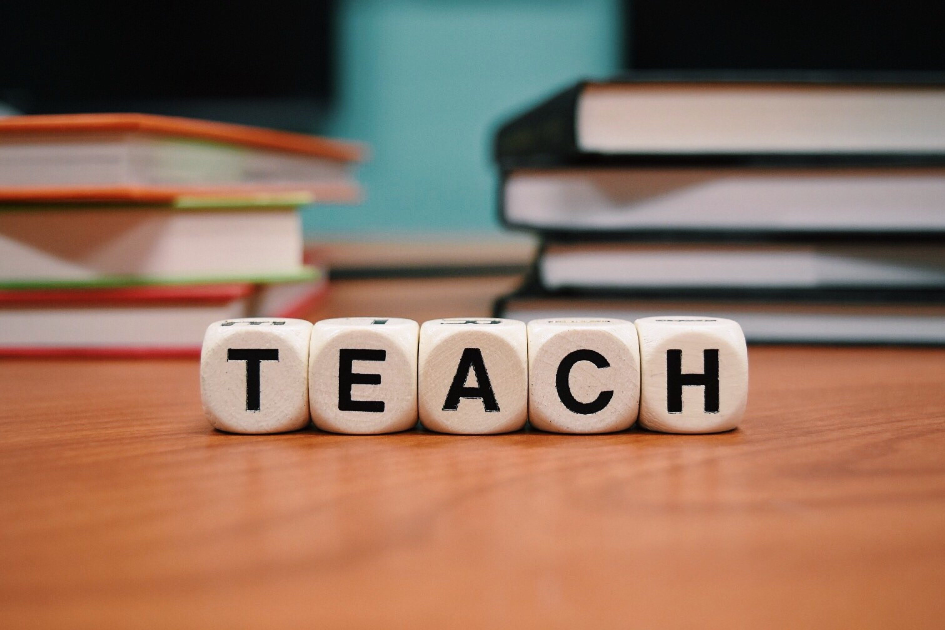 The word TEACH in a stock photo image