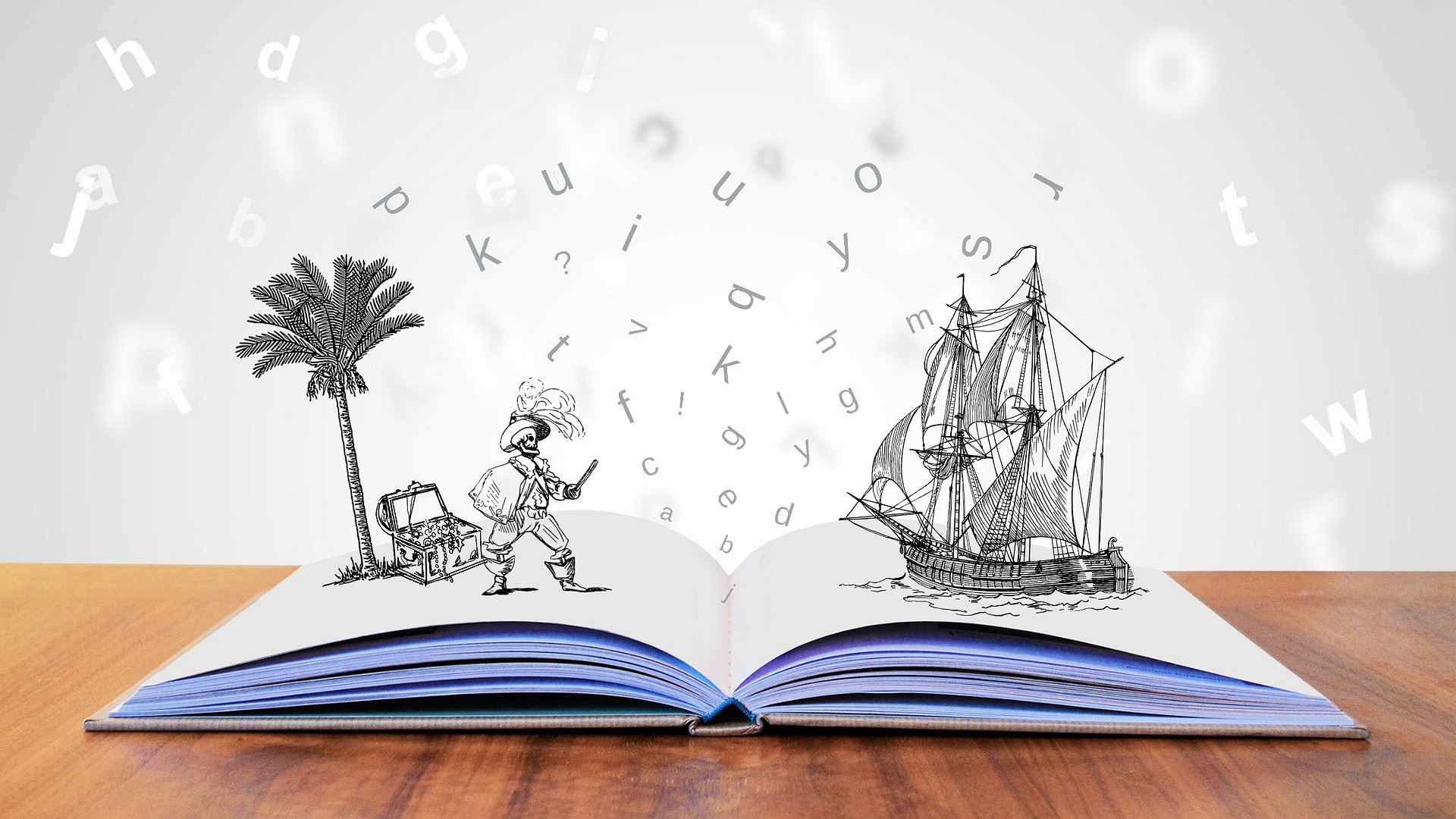 Illustration of pirate and a book