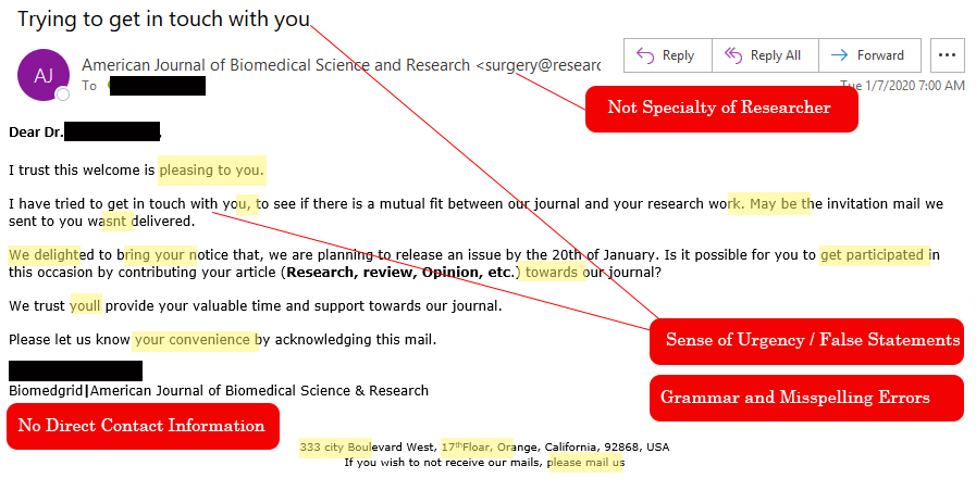 predatory journal solicitation
