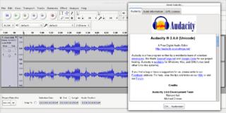 screen capture of Audacity