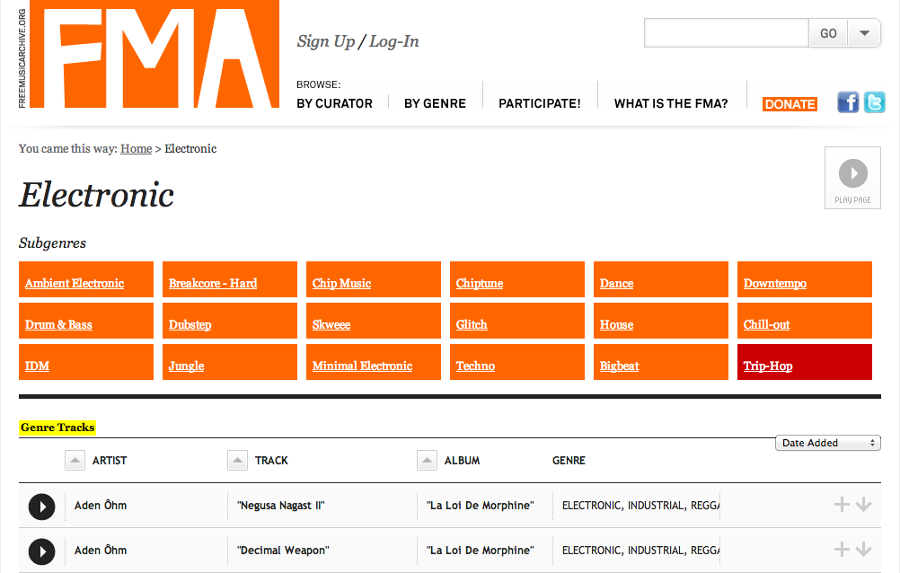 Free Music Archive categories