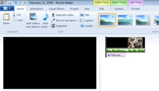 screen capture of movie maker