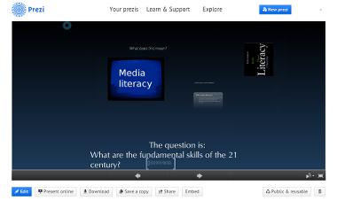 Prezi presentation screen