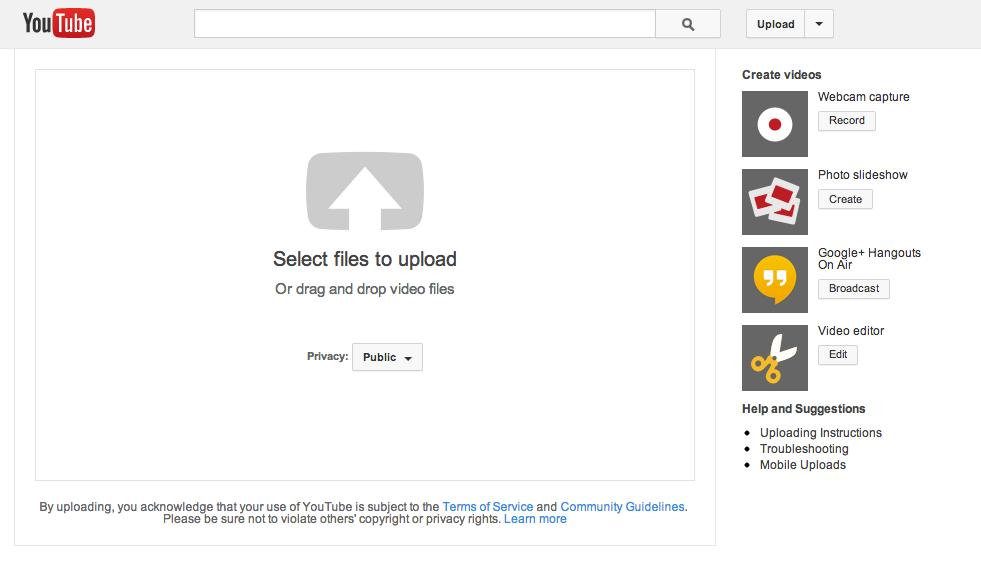 YouTube uplaod screen