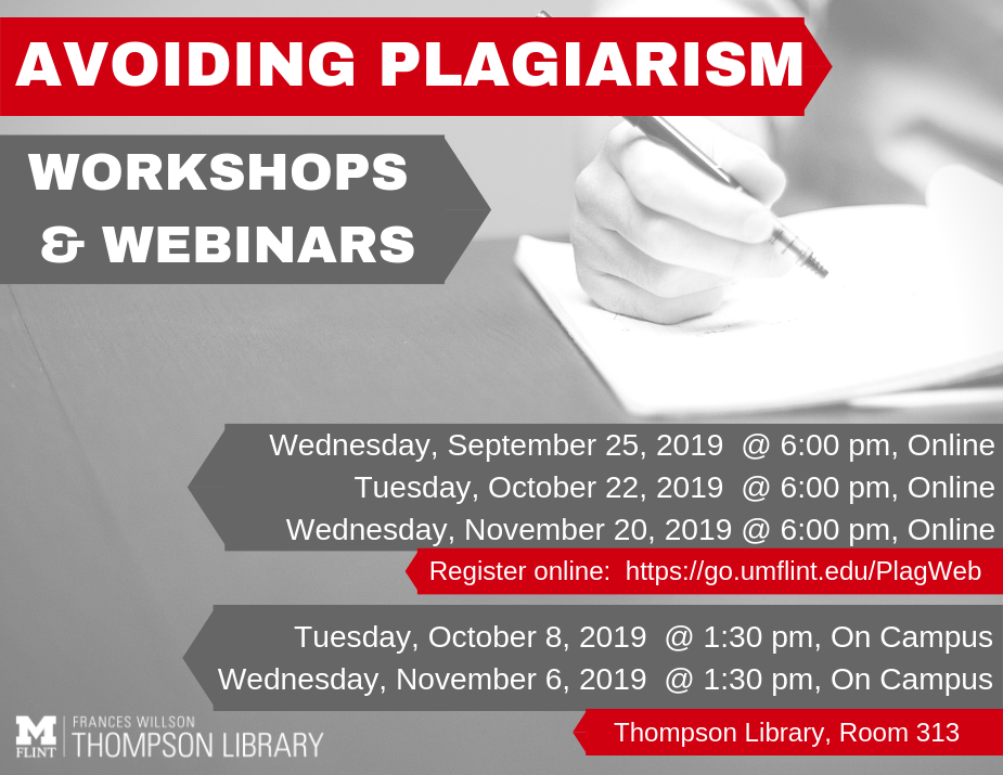 Avoiding Plagiarism Workshops and Wedbinars