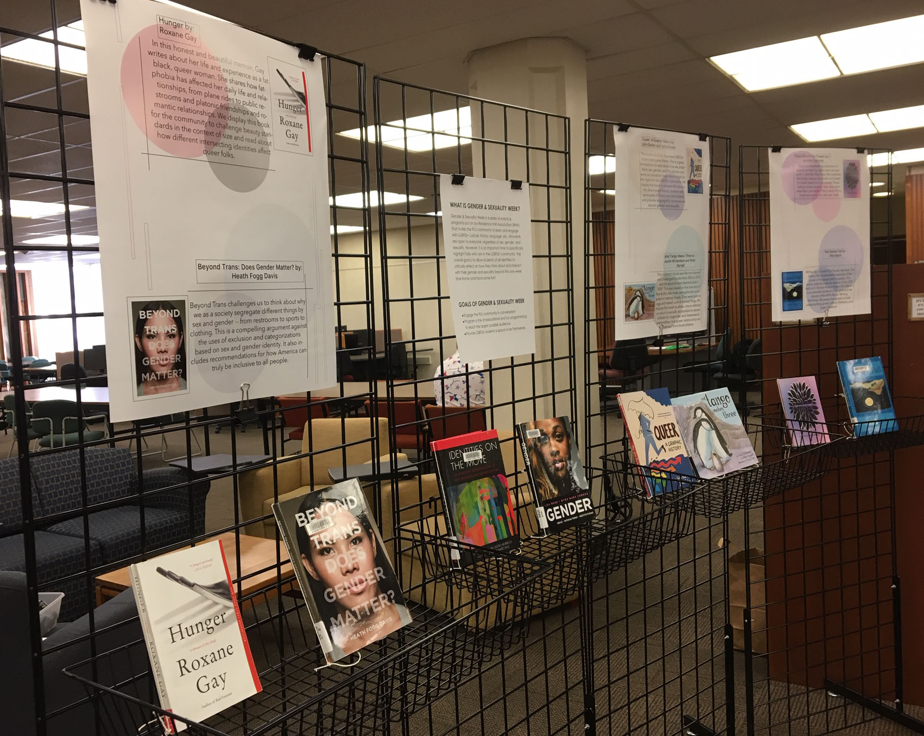 exhibit of books in support of Gender & Sexuality Week