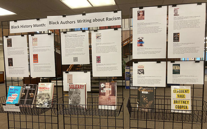 Black History Month exhibit in the library 2021