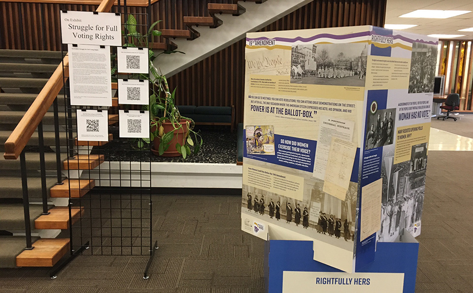 Struggle for voting rights exhibit in library lobby